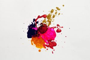 paint splash consisting of multiple colors